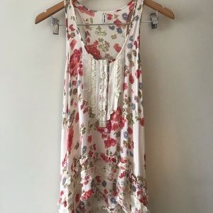 Cream floral sleeveless top free people (xs)
